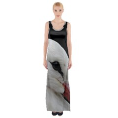 Wild Stork Bird, Close Up Maxi Thigh Split Dress by picsaspassion