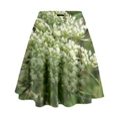 White Summer Flowers High Waist Skirt by picsaspassion
