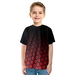 Ombre Black And Red Pasion Floral Pattern Kids  Sport Mesh Tee by DanaeStudio