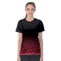 Ombre Black And Red Pasion Floral Pattern Women s Sport Mesh Tee by DanaeStudio
