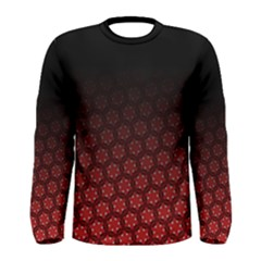 Ombre Black And Red Pasion Floral Pattern Men s Long Sleeve Tee