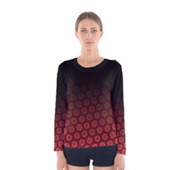 Ombre Black And Red Pasion Floral Pattern Women s Long Sleeve Tee