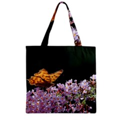 Butterfly Sitting On Flowers Zipper Grocery Tote Bag by picsaspassion