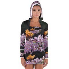 Butterfly Sitting On Flowers Women s Long Sleeve Hooded T Shirt by picsaspassion