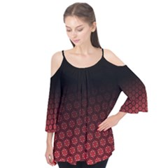 Ombre Black And Red Pasion Floral Pattern Flutter Sleeve Tee