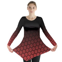 Ombre Black And Red Pasion Floral Pattern Long Sleeve Tunic