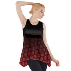 Ombre Black And Red Pasion Floral Pattern Side Drop Tank Tunic