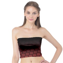 Ombre Black And Red Pasion Floral Pattern Tube Top