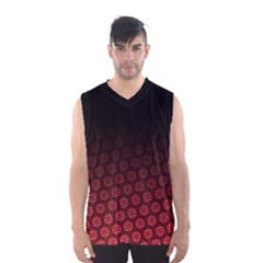 Ombre Black And Red Pasion Floral Pattern Men s Basketball Tank Top by DanaeStudio