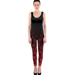 Ombre Black And Red Passion Floral Pattern Onepiece Catsuit