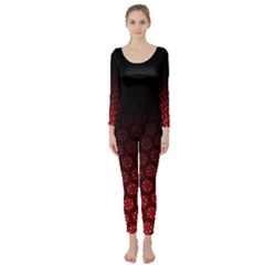 Ombre Black And Red Passion Floral Pattern Long Sleeve Catsuit by DanaeStudio