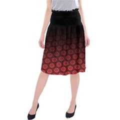 Ombre Black And Red Passion Floral Pattern Midi Beach Skirt