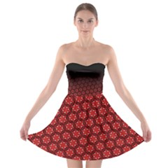 Ombre Black And Red Passion Floral Pattern Strapless Bra Top Dress by DanaeStudio