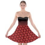 Ombre Black and Red Passion Floral Pattern Strapless Bra Top Dress