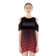 Ombre Black And Red Passion Floral Pattern Women s Cutout Shoulder One Piece by DanaeStudio