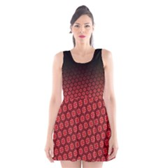 Ombre Black And Red Passion Floral Pattern Scoop Neck Skater Dress by DanaeStudio