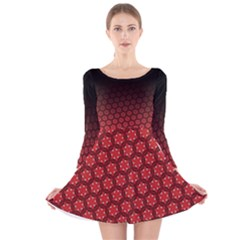 Ombre Black And Red Passion Floral Pattern Long Sleeve Velvet Skater Dress by DanaeStudio