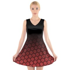 Ombre Black And Red Passion Floral Pattern V Neck Sleeveless Dress