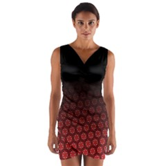 Ombre Black And Red Passion Floral Pattern Wrap Front Bodycon Dress by DanaeStudio