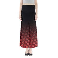 Ombre Black And Red Passion Floral Pattern Women s Maxi Skirt