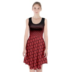 Ombre Black And Red Passion Floral Pattern Racerback Midi Dress by DanaeStudio