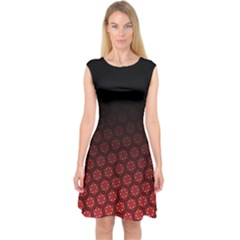 Ombre Black And Red Passion Floral Pattern Capsleeve Midi Dress