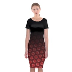 Ombre Black And Red Passion Floral Pattern Classic Short Sleeve Midi Dress by DanaeStudio