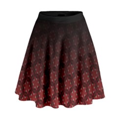 Ombre Black And Red Passion Floral Pattern High Waist Skirt by DanaeStudio