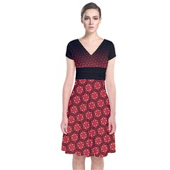Ombre Black And Red Passion Floral Pattern Short Sleeve Front Wrap Dress by DanaeStudio