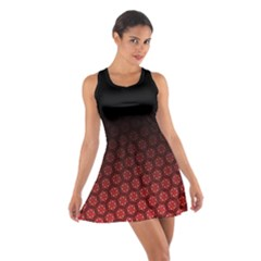 Ombre Black And Red Passion Floral Pattern Cotton Racerback Dress by DanaeStudio