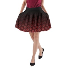 Ombre Black And Red Passion Floral Pattern A Line Pocket Skirt by DanaeStudio