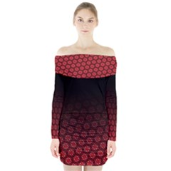 Ombre Black And Red Passion Floral Pattern Long Sleeve Off Shoulder Dress