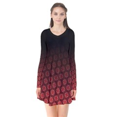 Ombre Black And Red Passion Floral Pattern Long Sleeve V Neck Flare Dress