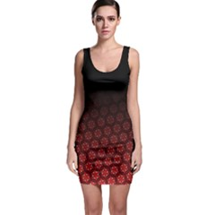 Ombre Black And Red Passion Floral Pattern Bodycon Dress by DanaeStudio