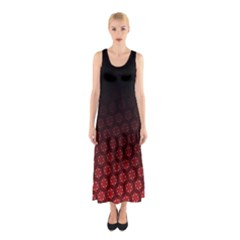 Ombre Black And Red Passion Floral Pattern Sleeveless Maxi Dress