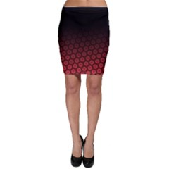 Ombre Black And Red Passion Floral Pattern Bodycon Skirt by DanaeStudio