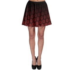 Ombre Black And Red Passion Floral Pattern Skater Skirt