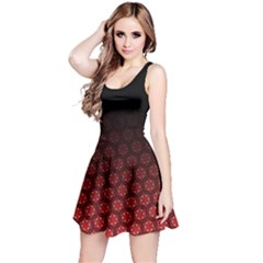 Ombre Black And Red Passion Floral Pattern Reversible Sleeveless Dress