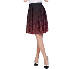 Ombre Black And Red Passion Floral Pattern A Line Skirt by DanaeStudio