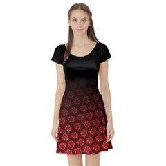 Ombre Black And Red Passion Floral Pattern Short Sleeve Skater Dress by DanaeStudio