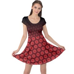 Ombre Black And Red Passion Floral Pattern Cap Sleeve Dress