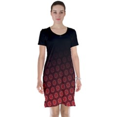 Ombre Black And Red Passion Floral Pattern Short Sleeve Nightdress