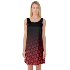 Ombre Black And Red Passion Floral Pattern Sleeveless Satin Nightdress