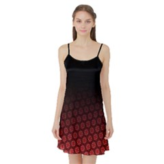 Ombre Black And Red Passion Floral Pattern Satin Night Slip