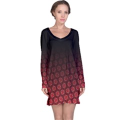 Ombre Black And Red Passion Floral Pattern Long Sleeve Nightdress