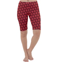 Red Passion Floral Pattern Cropped Leggings