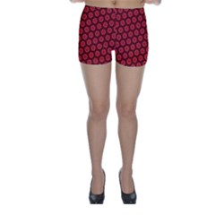 Red Passion Floral Pattern Skinny Shorts