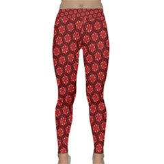Red Passion Floral Pattern Yoga Leggings