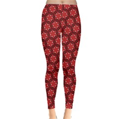 Red Passion Floral Pattern Leggings