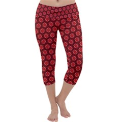Red Passion Floral Pattern Capri Yoga Leggings
